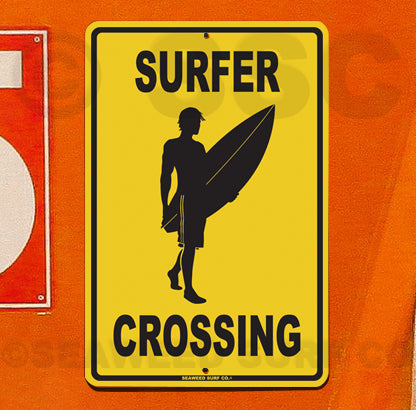SF38 Surfer Crossing - Aluminum Novelty Metal Sign