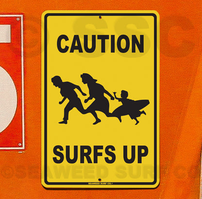 SF39 Caution Surfs Up - Aluminum Novelty Metal Sign