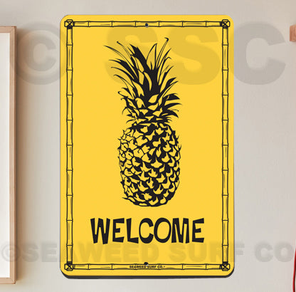 SF45 Welcome Pineapple - Aluminum Novelty Metal Sign