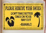 SF50 Please Remove Shoes - Aluminum Novelty Metal Sign