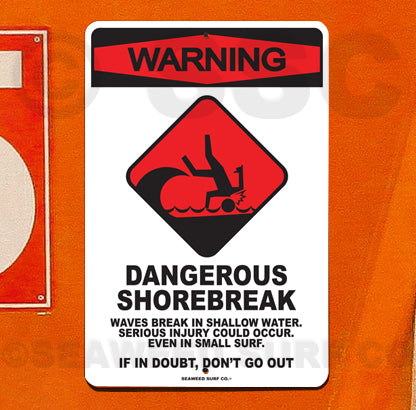 SF53 Warning Shorebreak - Aluminum Novelty Metal Sign