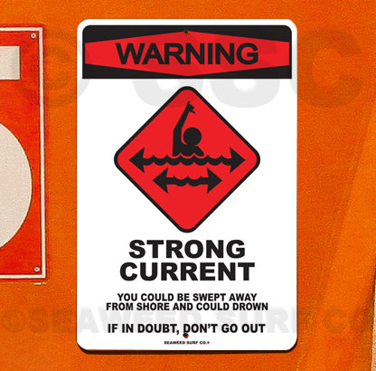 SF54 Warning Strong Current - Seaweed Surf Sign Co