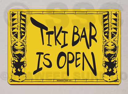 SF58 Tiki Bar Open - Aluminum Novelty Metal Sign