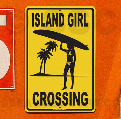 SF74 Island Girl Crossing - Aluminum Novelty Metal Sign
