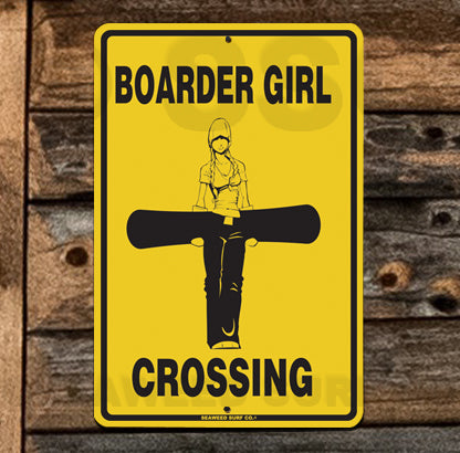 SN1 Snowboard girl Crossing - Aluminum Novelty Metal Sign