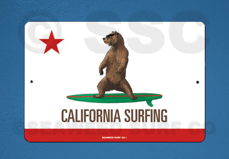 SF117 California Surfing - Aluminum Novelty Metal Sign