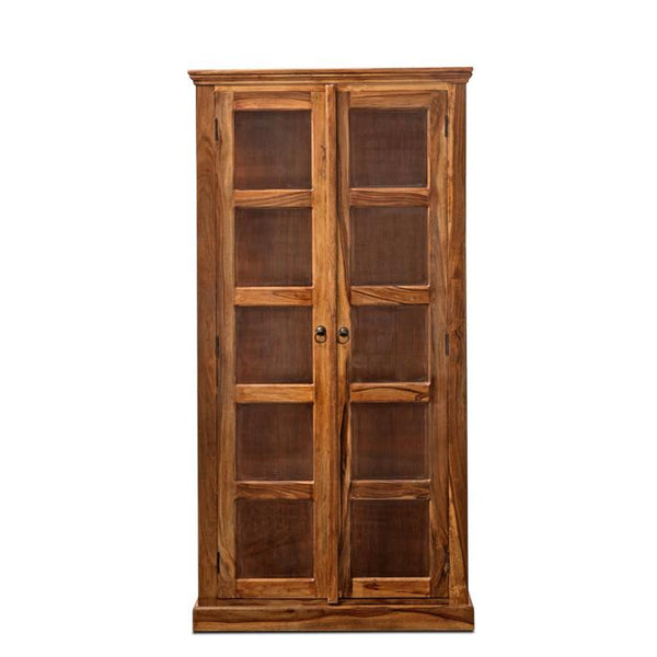Roxanna Book Shelf With Glass Door Walnut