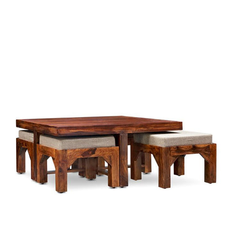 Mureilene Coffee Table With Four Stools Walnut