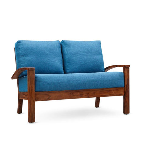 Eliane Two Seater Sofa Walnut And Sky Blue