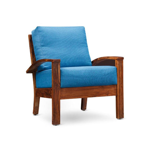 Eliane Single Seater Sofa Walnut And Sky Blue