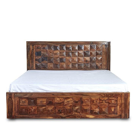 Victoria Queen Size Bed in Sheesham Wood with Box Storage