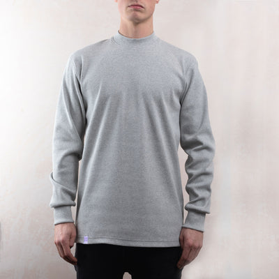 Grey Organic Rib Mock Neck SS