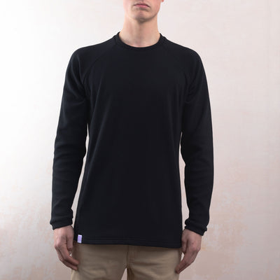 Black Organic Cotton Texture Sweater