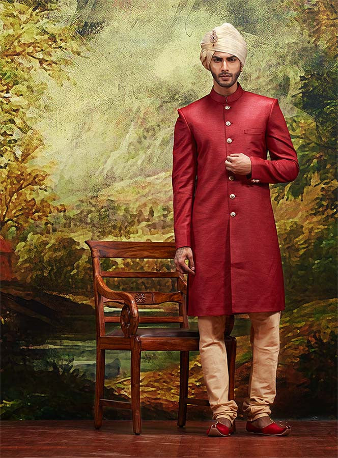 CLASSIC RED SHERWANI WITH CHURIDAR