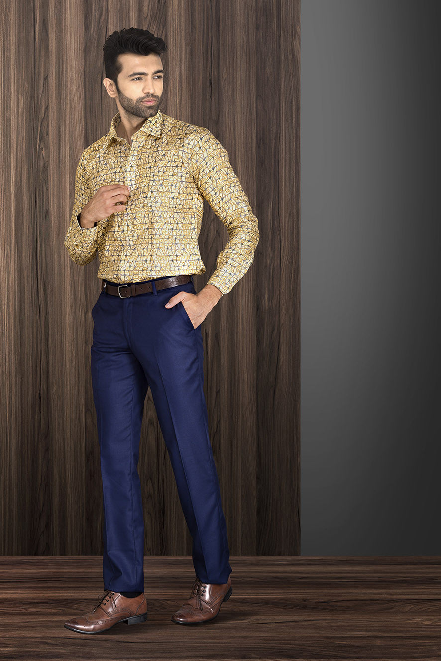 YELLOW PRINTED PARTY-WEAR SHIRT