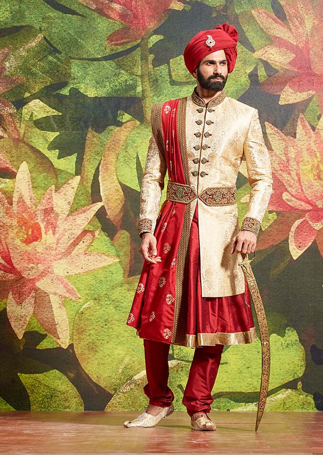4PIECE BEIGE SHERWANI WITH WAIST BELT
