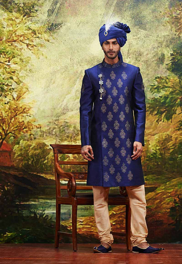 ROYAL BLUE SHERWANI WITH CHURIDAR