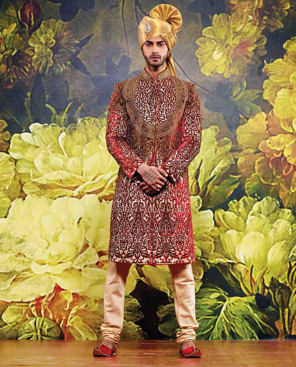 RED AND GOLDEN SHERWANI WITH CHURIDAR