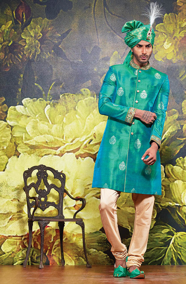 TURQUOISE BROCADE SHERWANI WITH PATHANI
