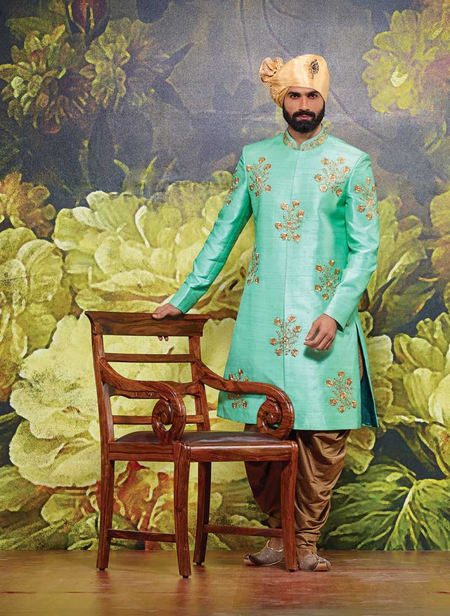 SEA GREEN SHERWANI WITH PATHANI
