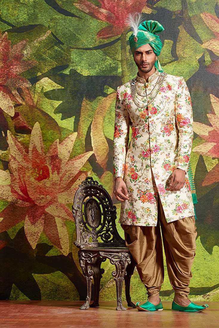 FLORAL SHERWANI WITH PATHANI