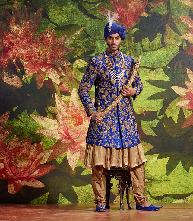 ROYAL BLUE THREE PIECE SHERWANI