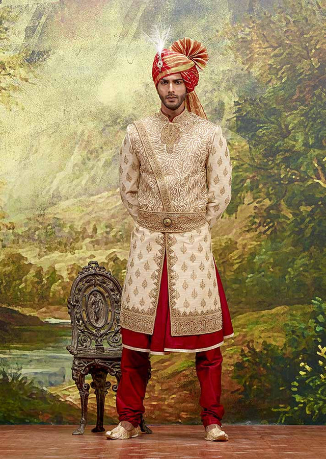 THREE PIECE BEIGE BROCADE SHERWANI