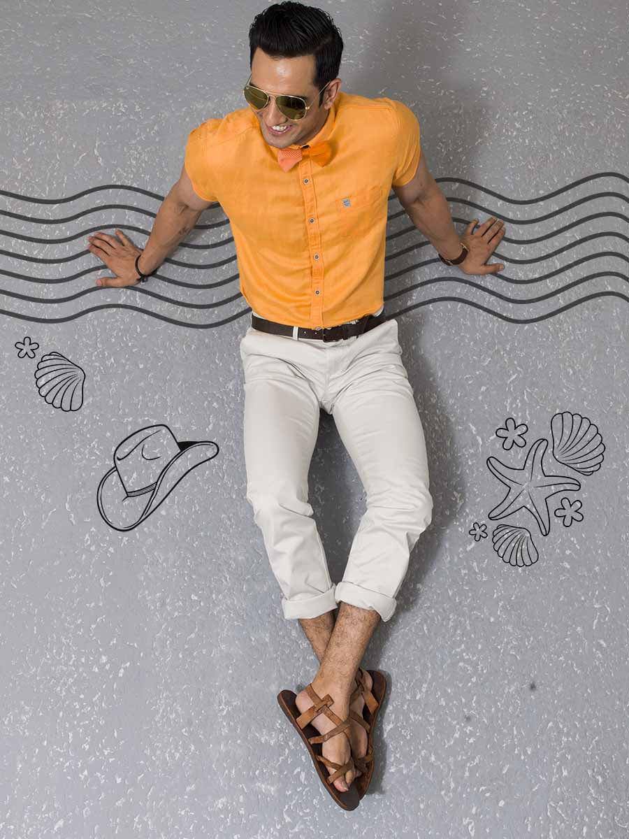 MUFTI TANGERINE COLORED HALF SLEEVE SHIRT
