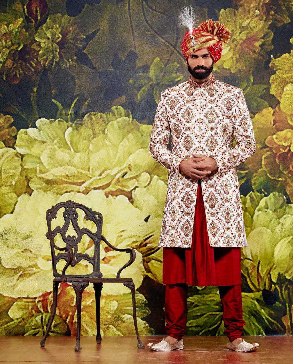 WHITE AND RED THREE PIECE SHERWANI