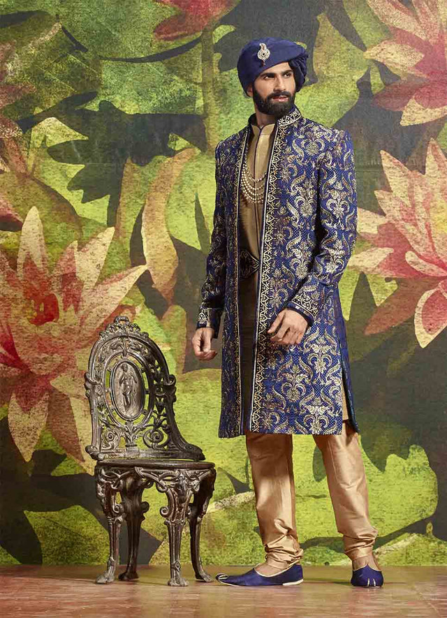 BLUE AND GOLDEN JACKET SHERWANI