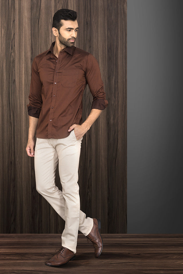 BROWN FORMAL SHIRT