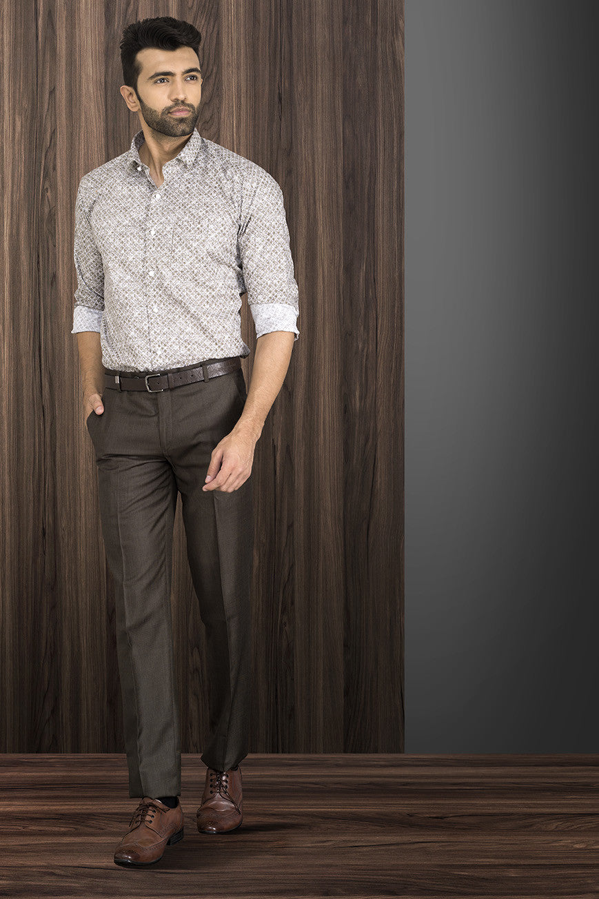 DULL BROWN TEXTURED FORMAL PANT