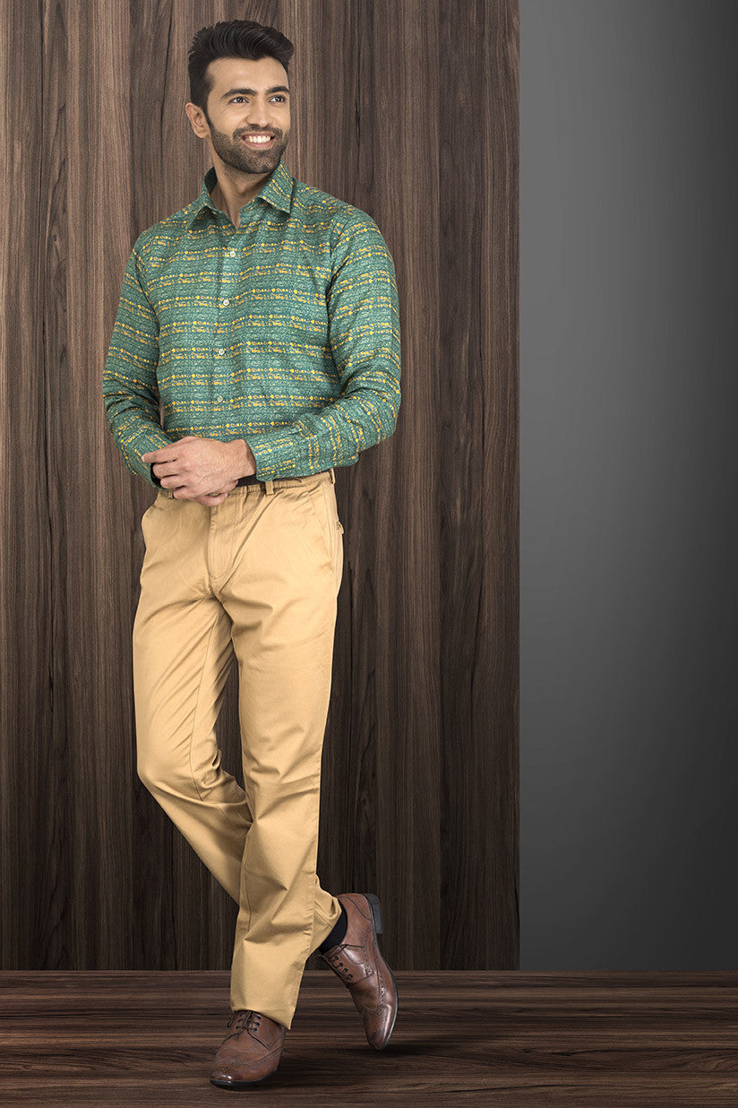GREEN PRINTED PARTY-WEAR SHIRT