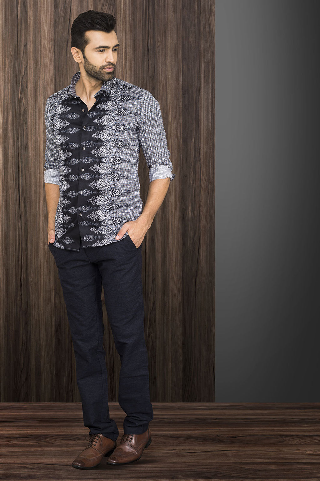 GREY AND BLACK PRINTED PARTY-WEAR SHIRT