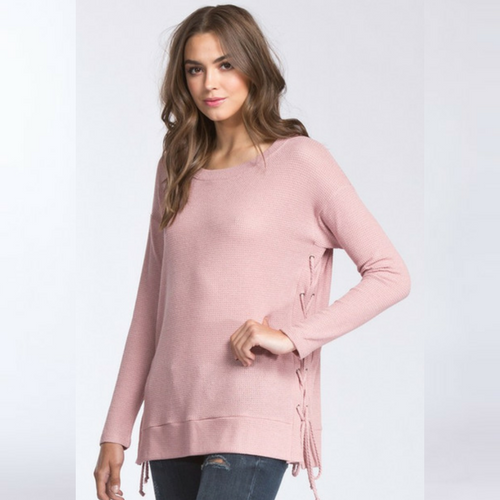 GO PINK Lace Up Sweater