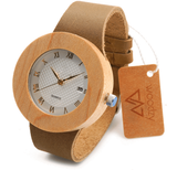 Women's Handcrafted 100% Natural Wooden Watch // Personalized Engravings // Bamboo Wood // Leather Strap // Sully - Woodzystore