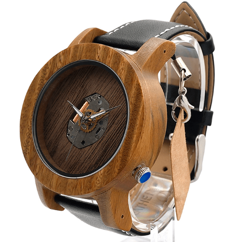 Men's Handcrafted 100% Natural Wooden Watch // Personalized Engravings // Bamboo Wood // Leather Strap // Viktor