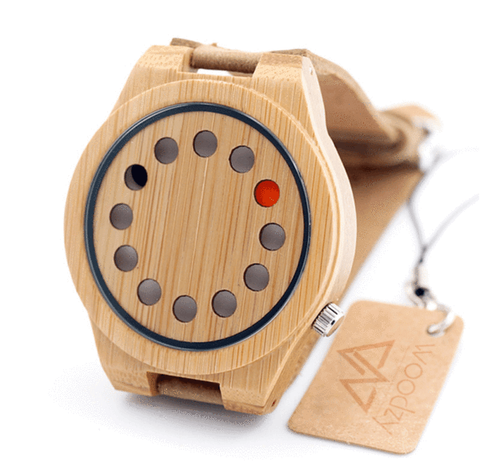 Men's Handcrafted 100% Natural Wooden Watch // Personalized Engravings // Leather Strap // Shale - Woodzystore