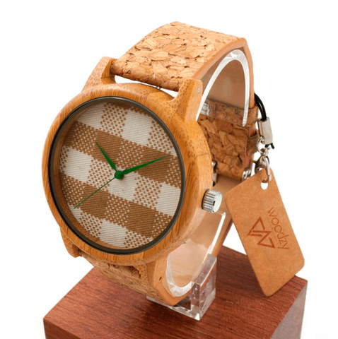 Unisex Handcrafted 100% Natural Wooden Watch // Personalized Engravings // Organic Wood // Cork Strap // Core - Woodzystore