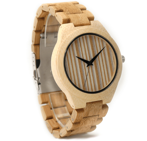 Men's Handcrafted 100% Natural Wooden Watch // Personalized Engravings // Pine+Bamboo Wood // Bob - Woodzystore