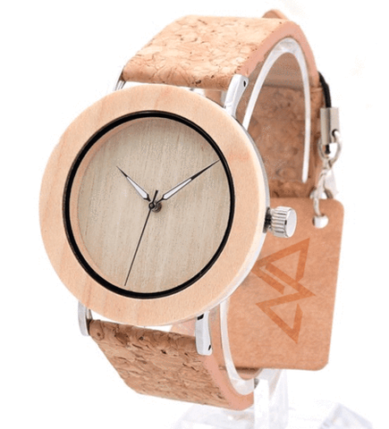 Women's Handcrafted 100% Natural Wooden Watch // Personalized Engravings // Organic Wood // Cork Strap // Palter - Woodzystore
