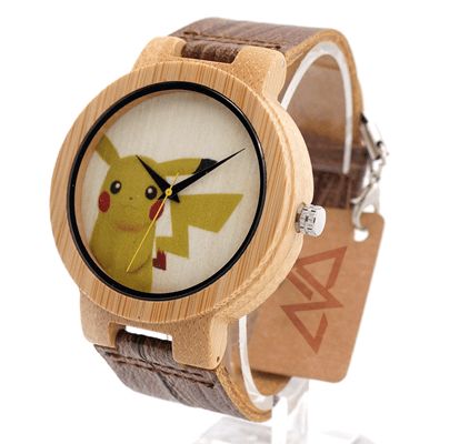 Unisex Handcrafted 100% Natural Wooden Watch // Personalized Engravings // Leather Strap // Poké