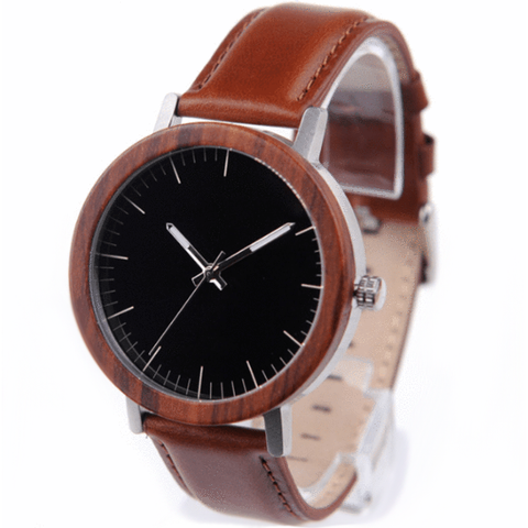 Unisex Handcrafted 100% Natural Wooden Watch // Personalized Engravings // Redwood // Leather Strap // Tuam - Woodzystore
