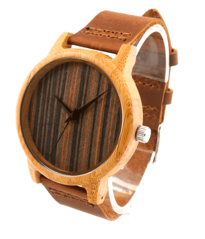Men's Handcrafted 100% Natural Wooden Watch // Personalized Engravings // Zebra Wood // Leather Strap // Metro - Woodzystore