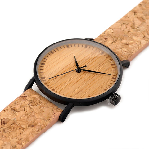 Unisex Handcrafted 100% Natural Wooden Watch // Personalized Engravings // Organic Wood // Cork Strap // Buzz - Woodzystore