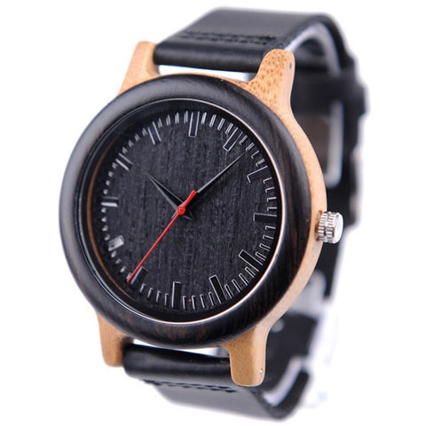Men's Handcrafted 100% Natural Wooden Watch // Personalized Engravings // Bamboo Wood // Apollo - Woodzystore