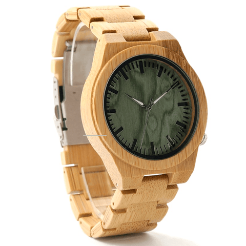 Men's Handcrafted 100% Natural Wooden Watch // Personalized Engravings // Bamboo Wood // Green - Woodzystore