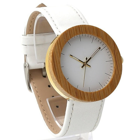 Women's Handcrafted 100% Natural Wooden Watch // Personalized Engravings // Leather Strap // Gold Irene - Woodzystore