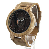 Unisex Handcrafted 100% Natural Wooden Watch // Personalized Engravings // Zebrawood // Leather Strap // Bloom - Woodzystore