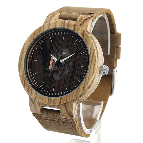 Unisex Handcrafted 100% Natural Wooden Watch // Personalized Engravings // Zebrawood // Leather Strap // Bloom